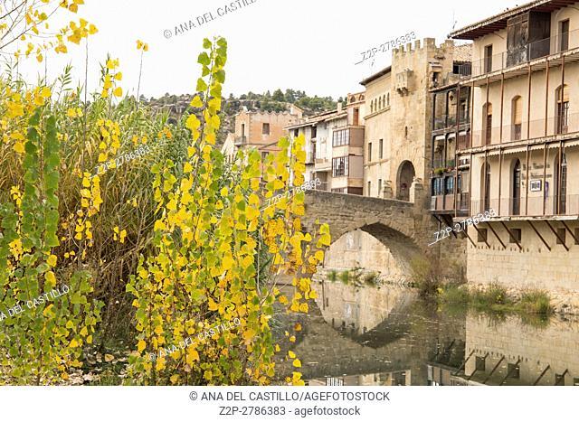 Valderrobres village, known as one of the most beautiful villages in Spain Teruel Aragon. Medieval bridge over Matarranya river