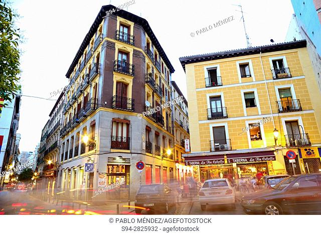Buildings in a square of Madrid center, Spain