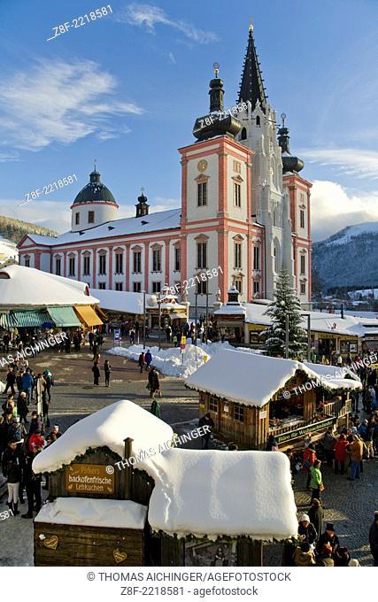 Christmas market basilica and pilgrimage church, Mariazell, Styria, Austria