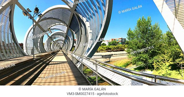 Bridge by Perrault, panoramic view. Madrid Rio park, Madrid, Spain