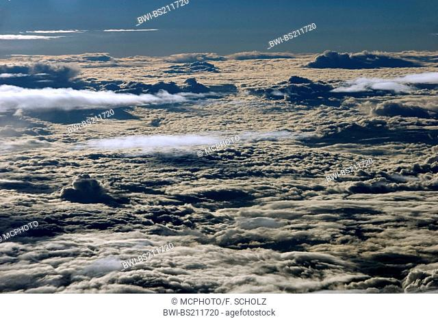 over the clouds. Cloud cover seen from above, Namibia