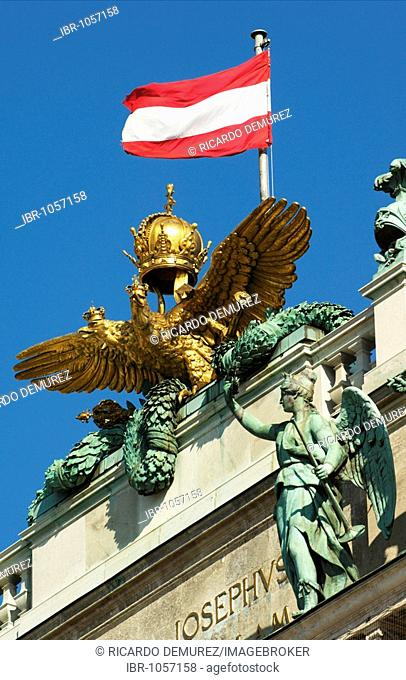 Imperial double-headed eagle and the Austrian flag on the roof of the national library, Hofburg Imperial Palace, Vienna, Austria, Europe