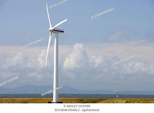 An onshore wind turbine on the outskirts of Workington, Cumbria, UK In the background is the new Robin Rigg offshore wind farm in the Solway Firth Robin Rigg is...