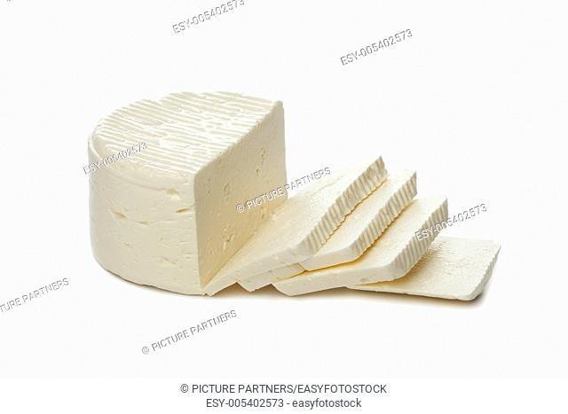 Fresh Feta cheese from sheep milk on white background