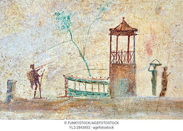 Roman fresco wall decorations of the Triclinium C, Villa Farnesia, Rome. Museo Nazionale Romano ( National Roman Museum), Rome, Italy