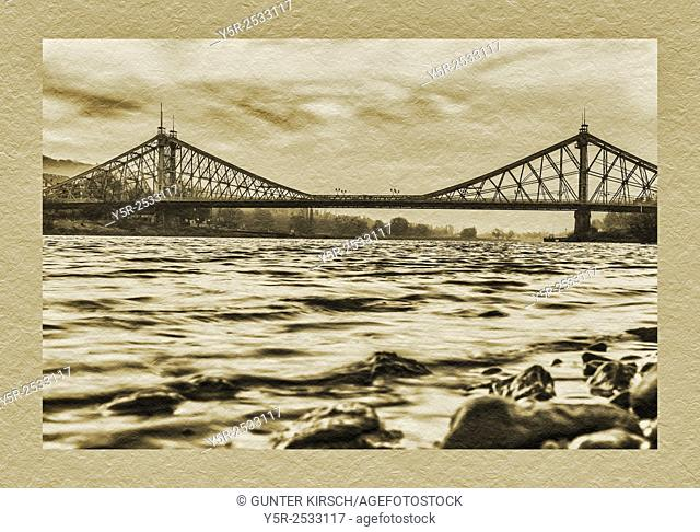 View over the Elbe river to the Loschwitzer Elbe Bridge Blue Wonder, opened 1893, Dresden, Saxony, Germany, Europe
