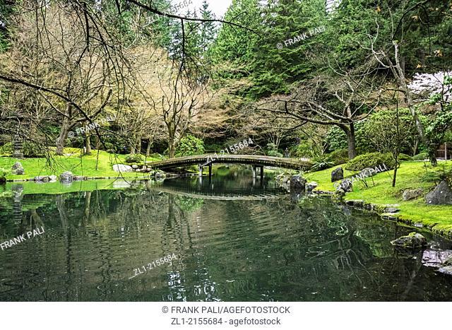 Wooden bridge at Nitobe Memorial Garden, a traditional Japanese garden, University of British Columbia, Vancouver, British Columbia, Canada