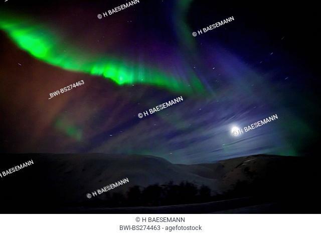 northern light corona, Norway, Troms, Kvalya, Troms