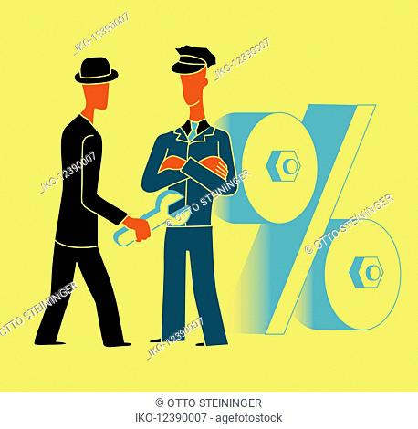 Police officer preventing businessman with wrench from manipulating percentage sign