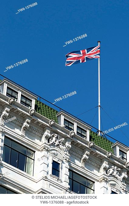 Union Jack flag on top of building in London,England,UK