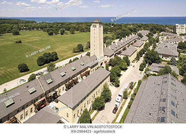 Aerial view of Fort Sheridan with Lake Michigan in the distance in the Northern Suburbs of Chicago, IL. USA