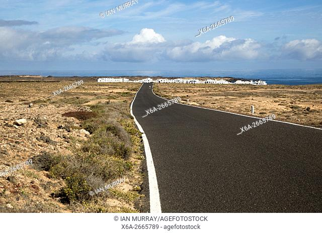 Road approaching Caleta de Caballo village, Lanzarote, Canary islands, Spain
