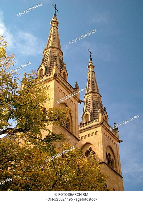 Switzerland, Europe, Neuchatel, La Collegiale, Romanesque-Gothic 12th century church, steeples