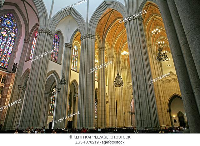 Group of people worshiping at the Sao Paulo Cathedral, Sao Paulo, Brazil