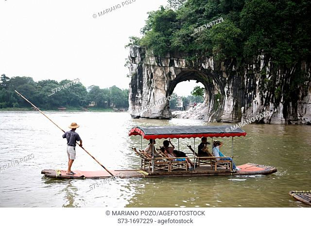 Boat and Elephant Trunk Hill in Guilin, Guangxi Province, China