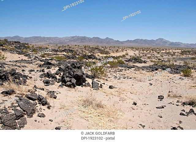 the mountains outside of amboy crater national natural landmark in the heart of the mojave desert, amboy, california, united states of america