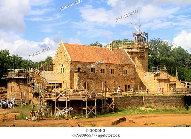 Medieval site of the castle of Guedelon, Puisaye, Burgundy, France, Europe