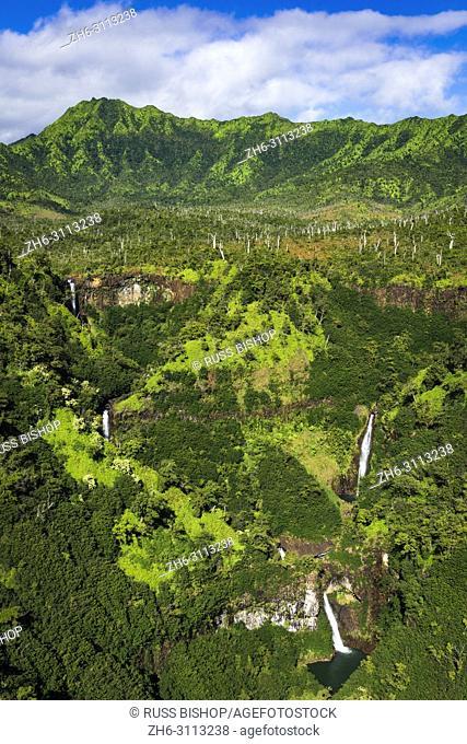 Kahili Falls (aerial), Hanapepe Valley, Kauai, Hawaii USA