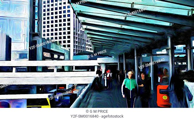 oil painting filter view of people walking on elevated walkway in Central Hong Kong