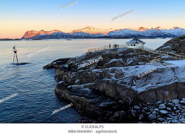 View of Hamn I Senja lighthouse during sunset. Hamn I Senja, Senja, Norway, Europe