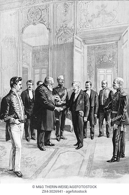 French President Loubet welcoming South African President Kruger during his visit to France, Picture from the French weekly newspaper l'Illustration