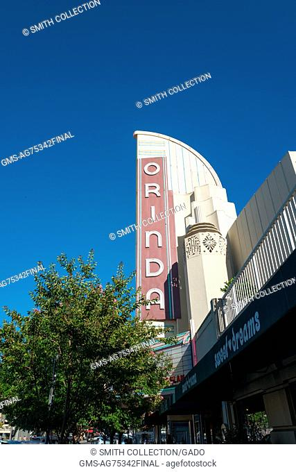 Marquee for the Orinda Theater, an art-deco style theater which originally opened in 1941 and continues to operate in Orinda, California, 2016