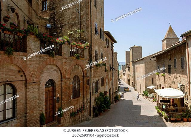 Certaldo, upper town, old town, province Florence, Tuscany, Italy