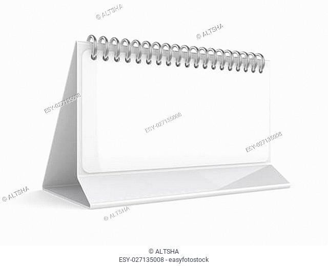 Blank desktop calendar on white background