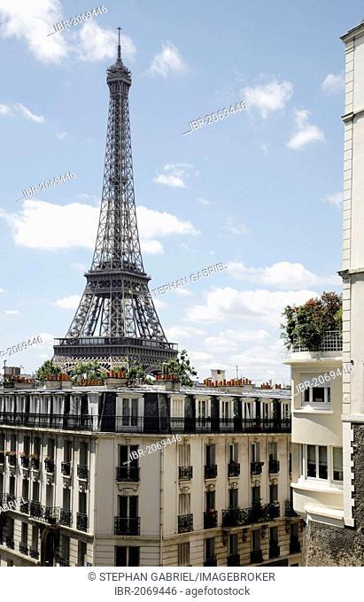 View of the Eiffel Tower, Tour Eiffel, from Palais de Tokyo, Paris, Ile de France, France, Europe