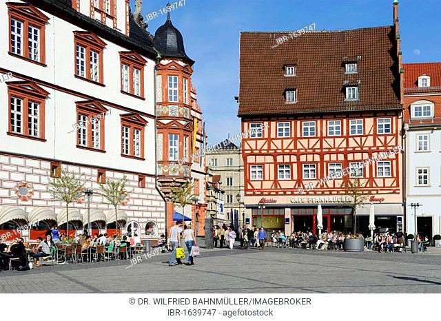 Town hall, market square, Coburg, Upper Franconia, Bavaria, Germany, Europe