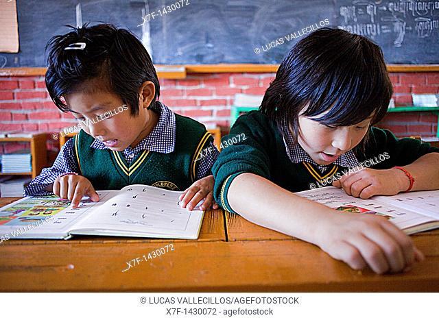 Children in schoolroom Tibetan Children's Village, Dharamsala, Himachal Pradesh state, India, Asia