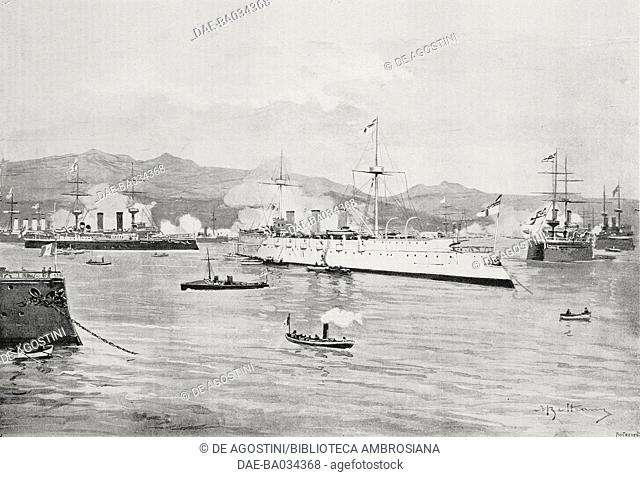 Ships of the great powers bombarding Akrotiri, Cretan Revolt, Greece, drawing by Achille Beltrame (1871-1945), from L'Illustrazione Italiana, Year XXIV, No 11