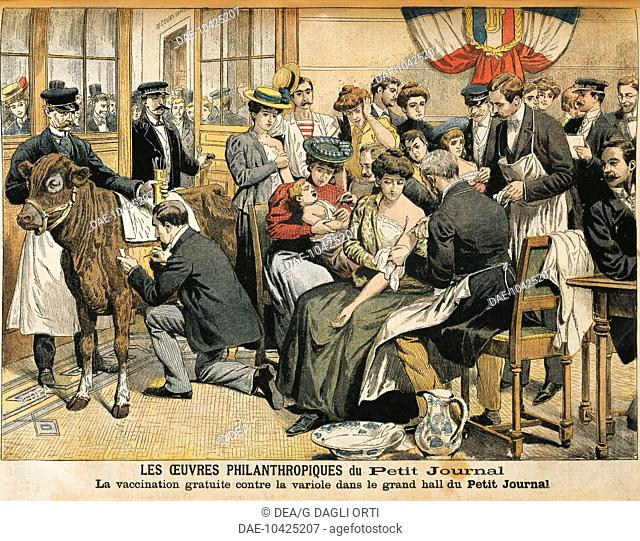 Free smallpox vaccination. From Petit Journal (1905), France 20th century