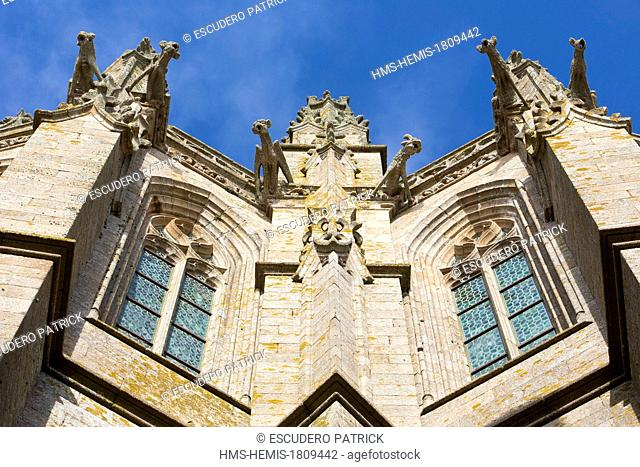 France, Manche, Mont Saint Michel bay, listed as World Heritage by UNESCO, detail of the facade of the abbey church