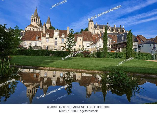 Loches, Saint Ours Church, Castle, Logis Royal Castle, Chateau de Loches, Indre-et-Loire, Touraine, Pays de la Loire, Loire Valley, UNESCO World Heritage Site