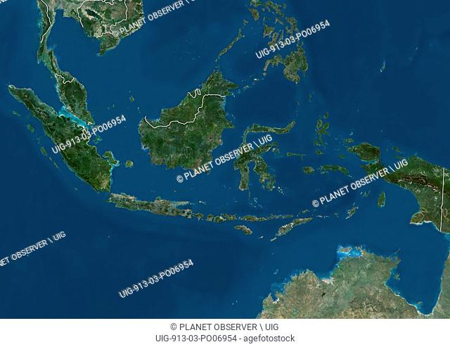 Satellite view of Southeast Asia showing Malaysia, Indonesia and Brunei (with country boundaries). This image was compiled from data acquired by Landsat...