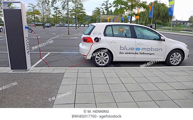 e-car at charging station, Germany