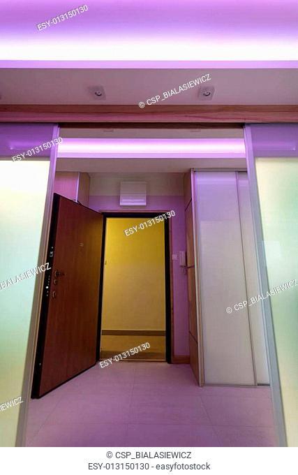 Illuminated anteroom in luxurious apartment