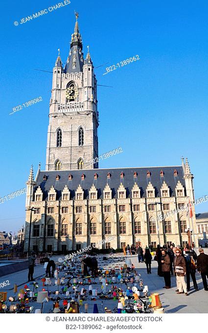 The Belfry Tower, Sint-Baafsplein square, Ghent, Gent, Gand, Flemish region, Belgium