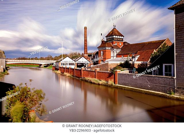 Harveys Brewery and River Ouse, Lewes, Sussex, England