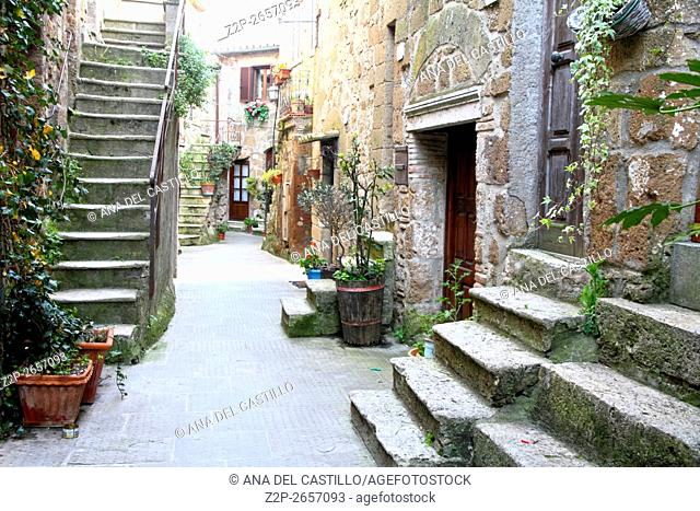 Alley in old town Pitigliano Tuscany Italy