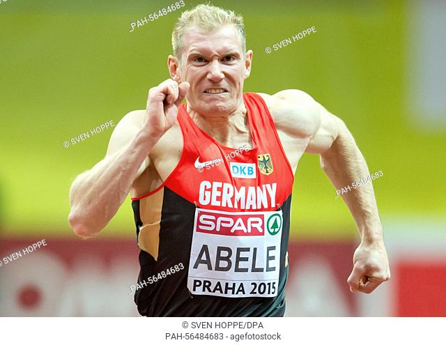Arthur Abele of Germany in action during the men's Heptathlon 60m competition at the IAAF European Athletics Indoor Championships 2015 at the O2-Arena in Prague