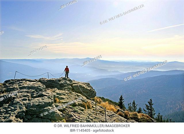 View from the Grosser Arber mountain, 1456 m, to the Falkenstein mountain, Bavarian Forest, Lower Bavaria, Germany, Europe