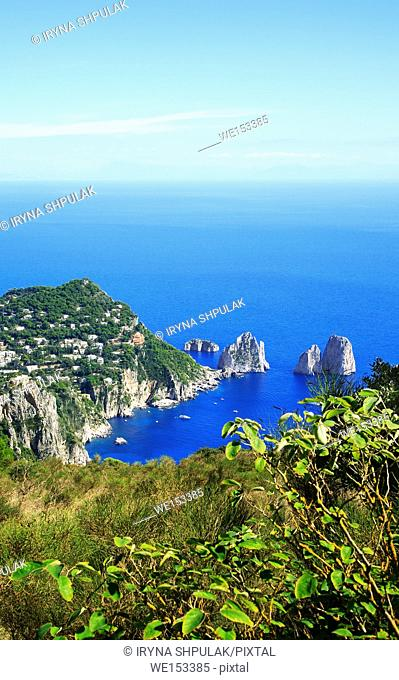 Rock formations Faraglioni, Island Capri, Gulf of Naples, Italy. Rock formations Faraglione di terra /Stella/, Faraglione di mezzo