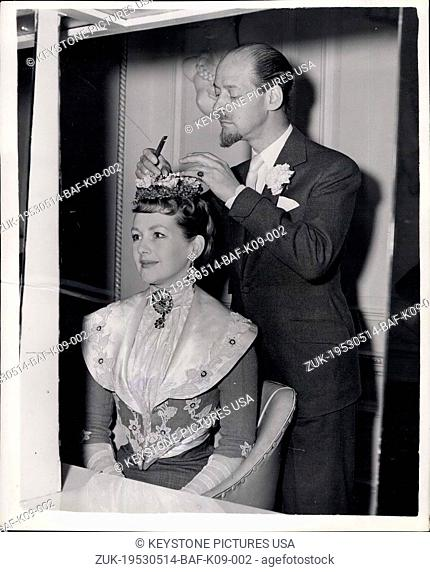 May 14, 1953 - The Hon. Mrs. Gerald Legge has a special hair-do 19th. Germany for Charity Show: The Hon. Mrs. Gerald Legge who is playing the part of a coquette...