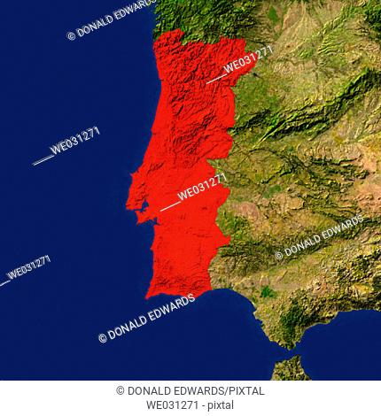 Highlighted satellite image of Portugal