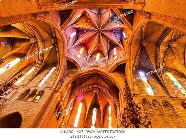 Interior view of Nostra Senyora dels Dolors Church in Manacor on Mallorca, Balearic Islands, Spain