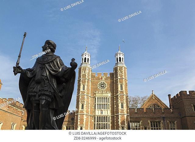 Statue of Henry VI and Lupton's Tower. Etom College. London. United Kingdom