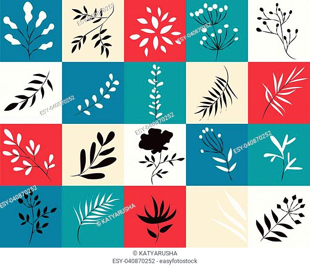 icons of plants in colored squares