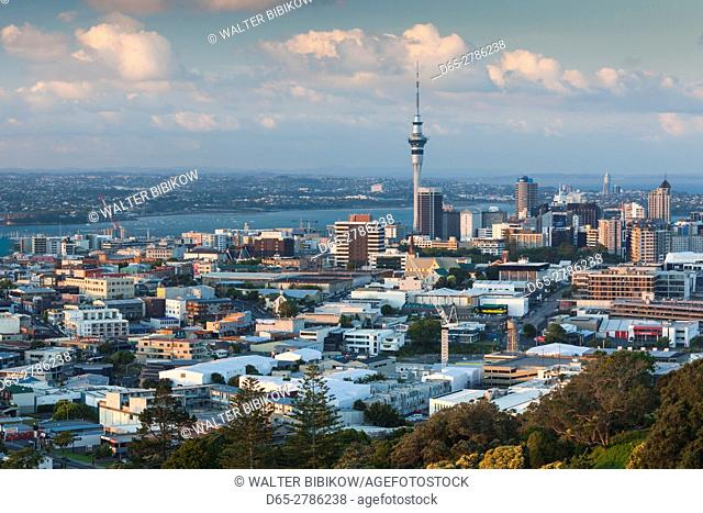 New Zealand, North Island, Auckland, elevated skyline from Mt. Eden volcano cone, dusk